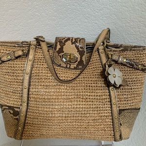 Coach Straw Tote Bag With Python Leather Trim